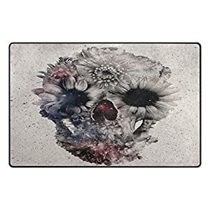 """PersonalizedShop Floral Skull With Flowers 23.6""""x15.7"""" Non-slip Top Quality Rug Doormat"""