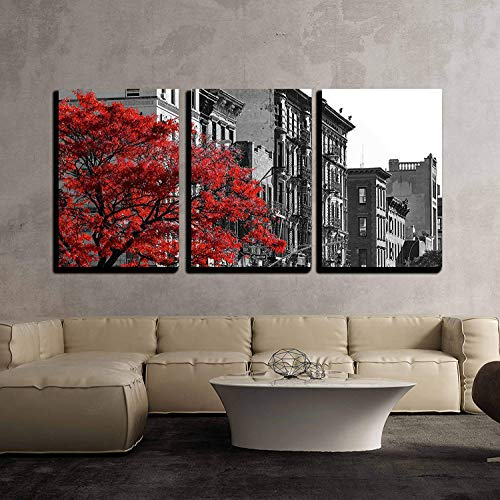 Red Fall Tree in Black and White NYC Street Scene x3 Panels