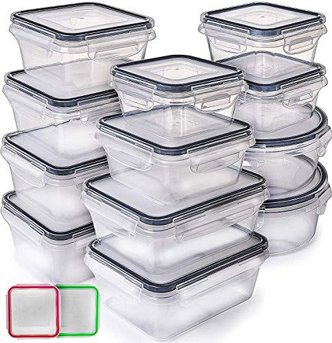 - Fullstar (12 Pack) Food Storage Containers with Lids - Black Plastic Food Containers with Lids - Plastic Containers with Lids - Airtight Leak Proof Easy Snap Lock and Bpa-Free Plastic Container Set