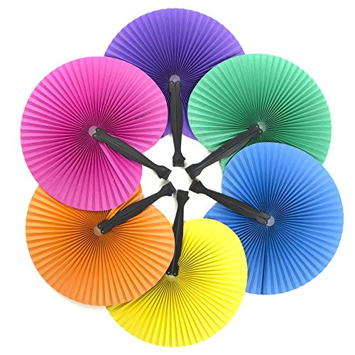 24 ~ Solid Color Folding Fans ~ 10.5' ~ Paper with Plastic Handle ~ New