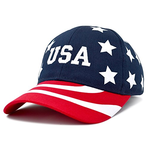 (DALIX USA Baseball Cap Flag Hat Team USA Navy Snapback America Stars and Stripes)