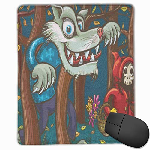 MVITUSFejr Scary Little Red Riding Hood and Big Bad Wolf Extended Gaming Mouse Pad -Non-Slip Water-Resistant Rubber Base Cloth Computer Mouse Mat
