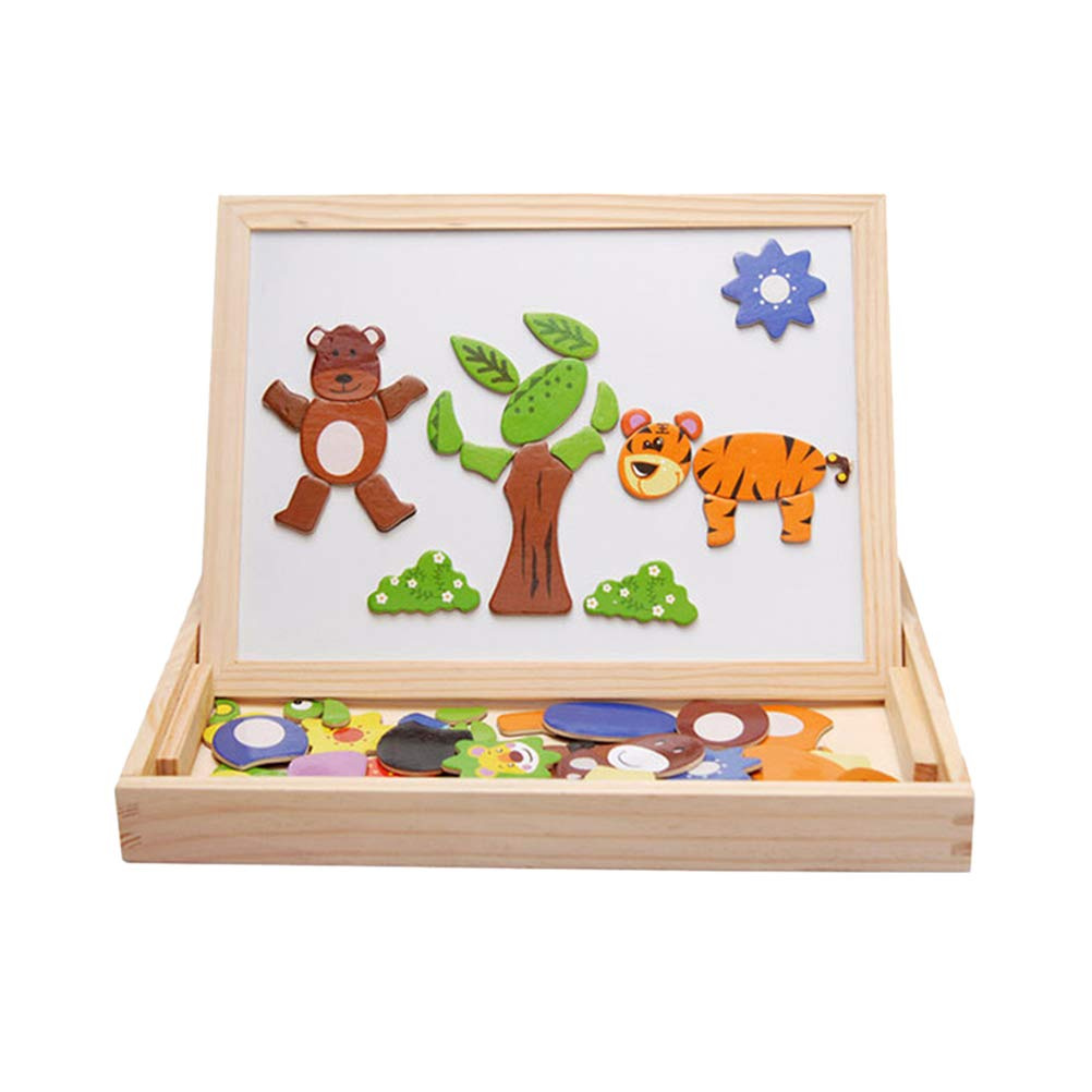 Toyvian Doppelseitige multifunktionale hölzerne Reißbrett-Puzzle-Spiel