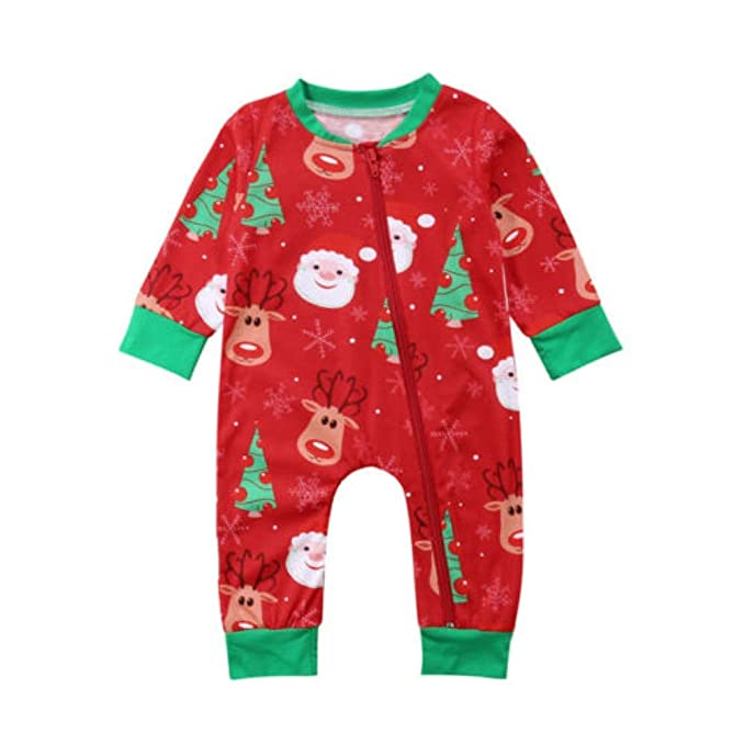 bce73ec7c Xmas Newborn Kids Baby Girl Boy Santa Claus Print Red Romper Jumpsuit Top  Pants Christmas Outfits