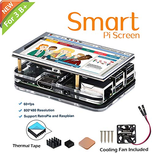 iUniker New Raspberry Pi Screen, 3.6 inch 60+fps 800x480 Resolution HD with Cooling Fan and Case for Raspberry Pi 3 B+/B, Pi 2 B (with Black Case and Fan)
