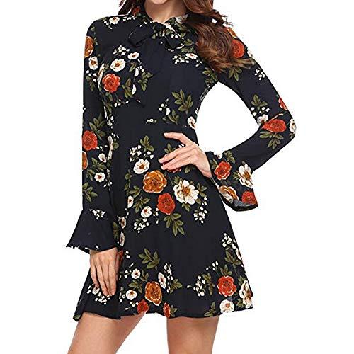 (HITRAS Dress!Fashion Women Elegant Flare Long Sleeve Floral Printed Mini Dress)