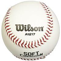 Béisbol de compresión suave Wilson A1217 (paquete de 12), 9 pulgadas, blanco