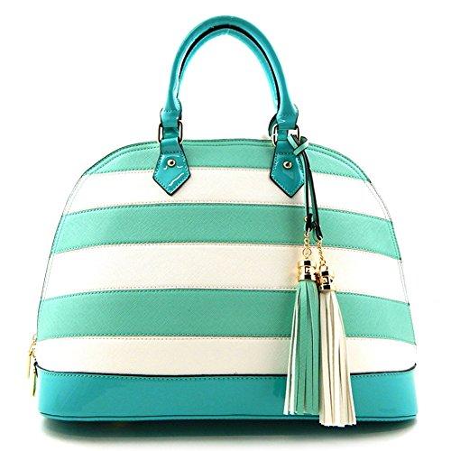 Patent Trim Striped Zip-around Classic Satchel Bag Mint White Wa007_mn/wh