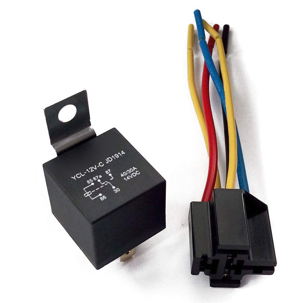 kaaka Cold-Proof 5 Pins 5 Wires 12V DC Car SPDT Automotive Relay with Harness Socket 30//40 Amp Auto Vehicle Maintenance Common Replacement Part Accessory 12V DC