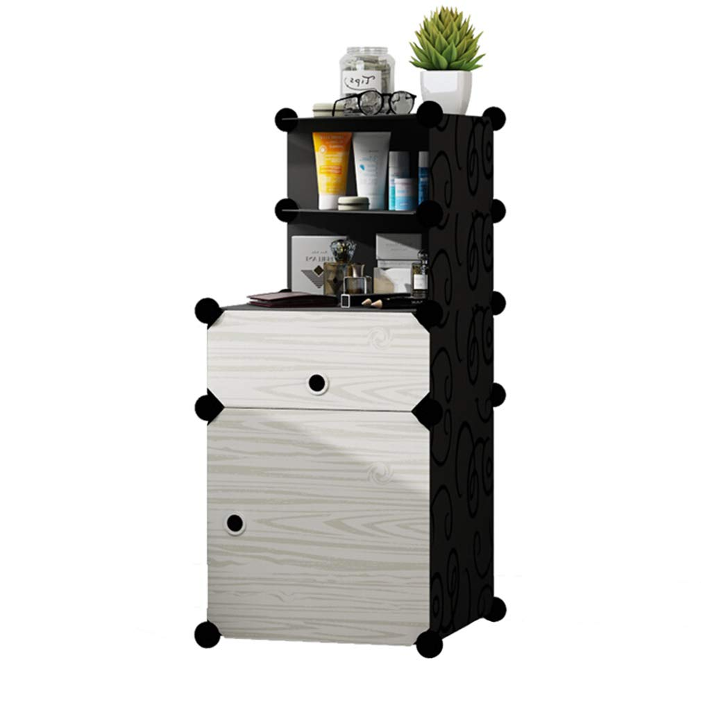 CL Drawer Locker-End Table Bedside Table Sofa Side Table Storage Shelves DIY Nitght Stand Unit 5 Tiers White Bedside Tables