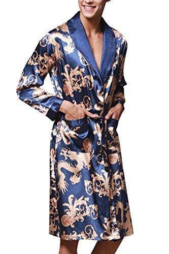 in abito raso uomo da da reale Camicia in notte pajama seta uomo da Blu in CaZWq