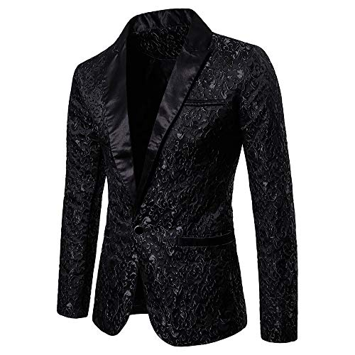 Toimothcn Charm Men's Sequin Casual One Button Fit Suit Blazer Coat Jacket Party(Black1,M)