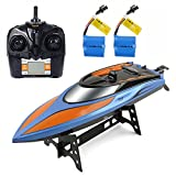 remote control boats for lakes - RC Boat Toys, Remote Control Boat for Pools and Lakes 2.4GHz High Speed RC Racing Boats for Adults & Kids + Bonus Battery