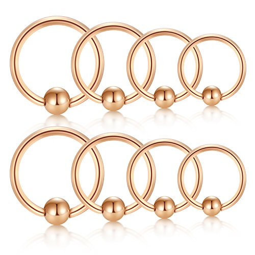 JFORYOU Cartilage Hoop Helix Earrings Nose Rings Hoop Stainless Steel Ear Tragus Piercing Captive Bead Rings Rose Gold Set 20G 6mm 8mm 10mm 12mm