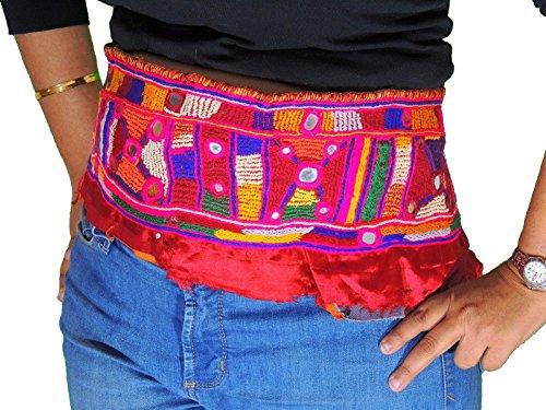 NovaHaat Kuchi Banjara Fusion Style Belt Trim Mirror Hand Embroidered Textile -