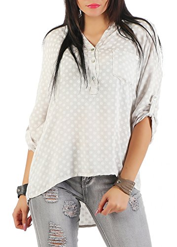 Danaest - Camisas - Túnica - Lunares - Clásico - Manga Larga - para mujer Beige