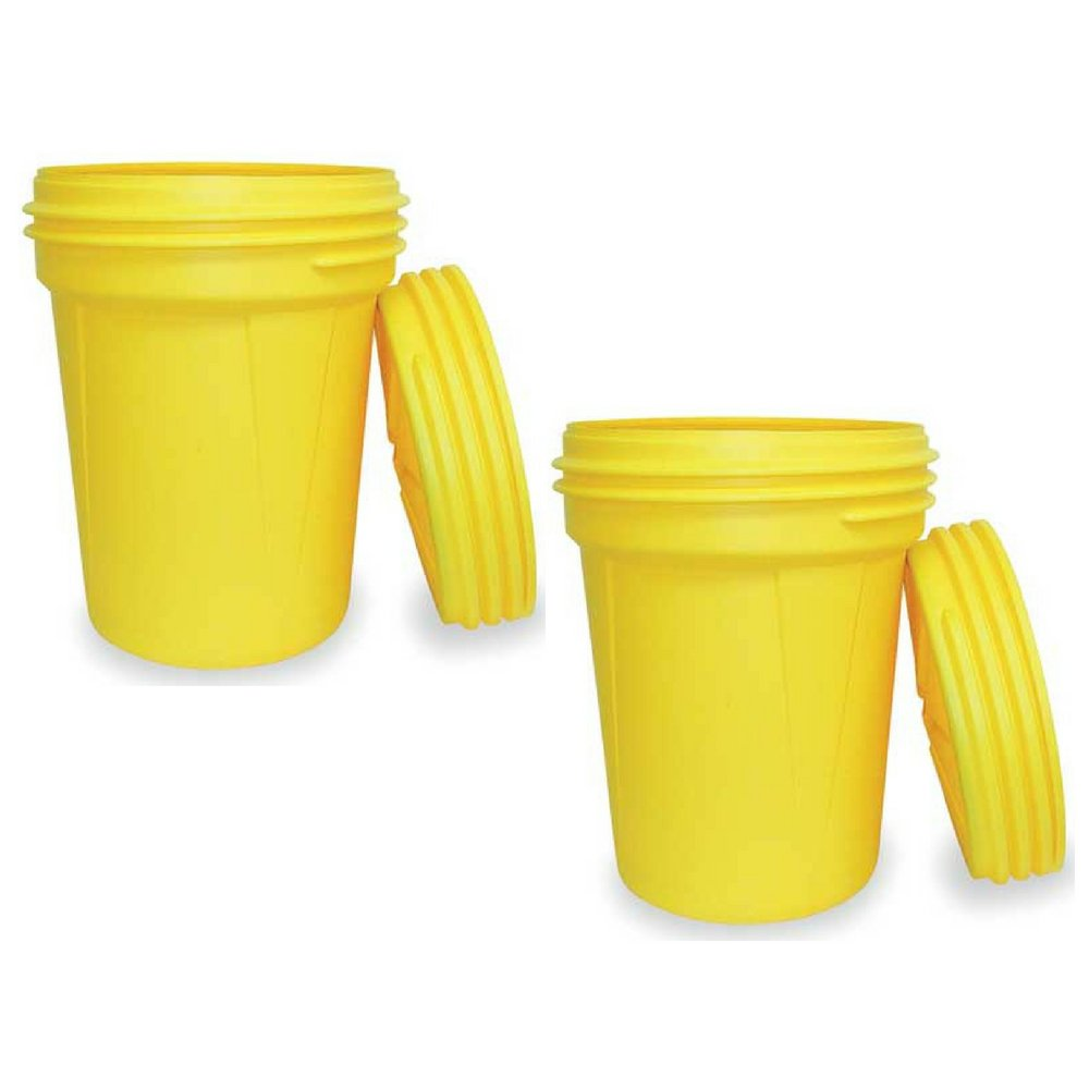 Eagle 1600SL Yellow High Density Polyethylene Lab Pack Drum with Plastic Screw-on Lid, 30 gallon Capacity, 28.25'' Height, 22.5'' Diameter (Pack of 2)