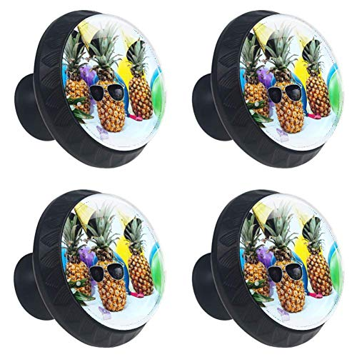 4 Pieces Drawer Knob Pull Handle Party Pineapple Sunglass Airball Crystal Glass Circle Shape Cabinet Drawer Pulls Cupboard Knobs with Screws for Home Office Cabinet Cupboard
