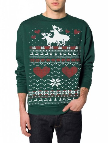 Skip N' Whistle Adult Ugly Christmas Sweater Moose Love Pullover Sweatshirt Small Forest Green