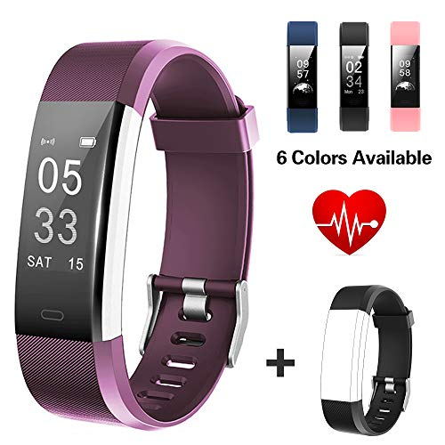 Lintelek Fitness Tracker, Big Screen Activity Tracker with Heart Rate Monitor, Waterproof Smart Band, Pedometer Fitness Watch for Women, Business and Fitbit Sporty Men ()
