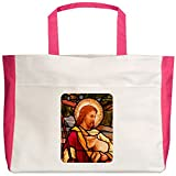 Royal Lion Beach Tote (2-Sided) Jesus Christ Lamb Stained Glass - Fuchsia