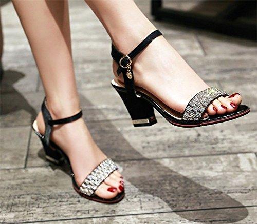 Sandali Con Tacco Alto A Blocchi Alti Alla Caviglia Open Toe Stile Easyemax Da Donna