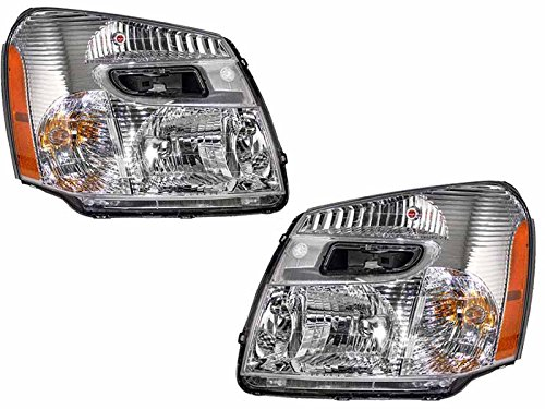 HEADLIGHTSDEPOT Compatible with Chevy Equinox New Chrome Headlights Set Headlamps Pair