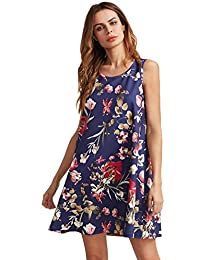 ROMWE Women's Floral Print Sleeveless Loose Casual Swing...
