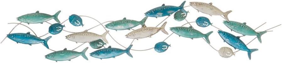Variante unica MONTEMAGGI Quadro 3D da appendere con pesci in metallo 139x5x31cm