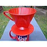 HAROLD Plastic Filter Cone Medium Coffee Maker, Medium, Red