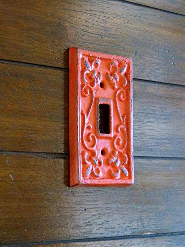 Single Light Switch Cover/ Light Plate Switchplate / Cast Iron Plate / Fleur de Lis Design / Fire (Reddish) Orange or Pick Your Color ()