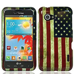 3-in-1 Bundle LG Enact VS890 Graphic Hard Case - USA Flag (Package include Premium Screen Protector + Ultra-Sensitive Stylus Pen by BeautyCentral TM)