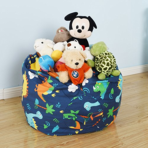 BROLEX 27'' Stuffed Animals Bean Bag Chair Cover-100% Cotton Canvas Kids Toy Storage Zipper Bags Comfy Pouf for Unisex Boys Girls Toddlar, Dinosaur Print by BROLEX (Image #4)