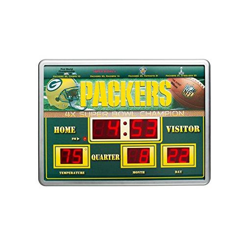 NFL Green Bay Packers 14x19 Inch ScoreBoard-Clock-Thermometer (Nfl Scoreboard)