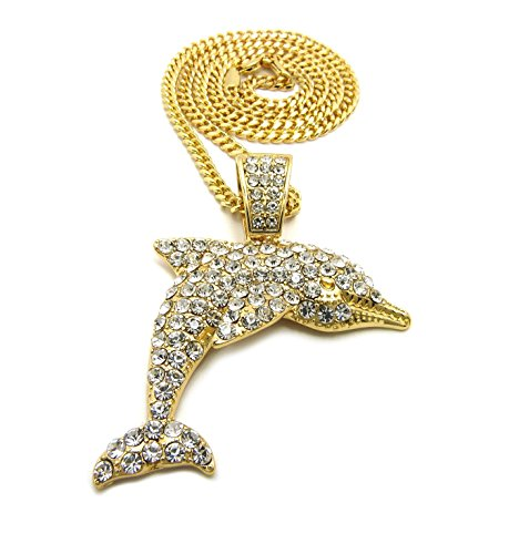 Crown Iced Out Hip Hop Dolphin Pendant 24