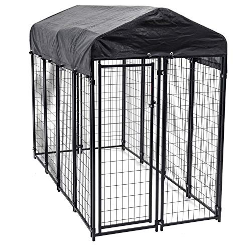 Dog Kennel Akc - Heavy Duty Dog Cage - Lucky Dog Outdoor Pet Playpen - This Pet Cage is Perfect For Containing Small Dogs and Animals. Included is a Roof and Water-Resistant Cover (4'W x 8'L x 6'H)