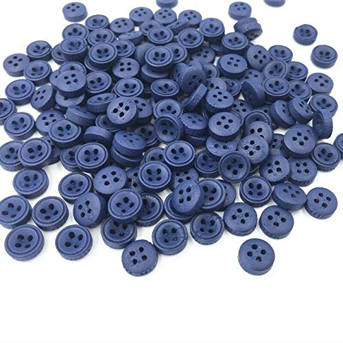 (MOPOLIS 100pcs 4-Holes Mixed color Round Woode Buttons Sewing Scrapbooking 9mm | Color - Royal blue )