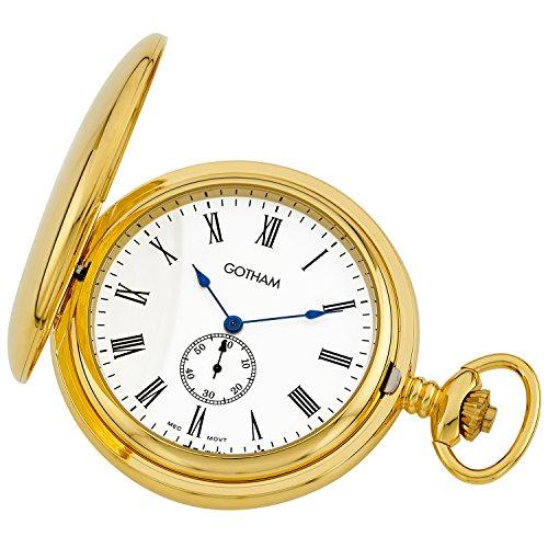 Gotham Men's Gold-Tone Double Hunter Deluxe 17 Jewel Mechanical Pocket Watch # GWC18805GR ()