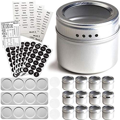 12 Magnetic Spice Tins with Wall Plate Racks & 2 Types of Spice Labels by Talented Kitchen. 12 Storage Magnet Spice Containers, Window Top w/Sift-Pour. 3 Metal Wall Base. 240 Preprinted Spice Stickers by Talented Kitchen