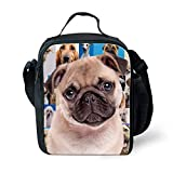 FOR U DESIGNS Cute Pug Print Tote Crossbody Lunch Bags Box with Zipper for Girls