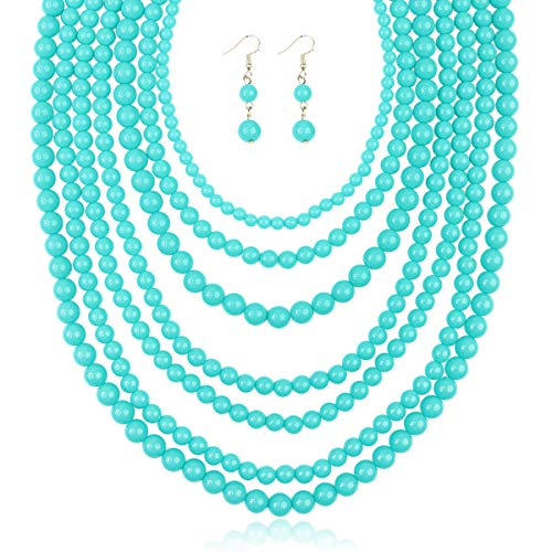 RIAH FASHION Multi Layer Beaded Bubble Statement Necklace - Round Ball Chunky Drape Bib Collar 7 Strands (Light Turquoise)