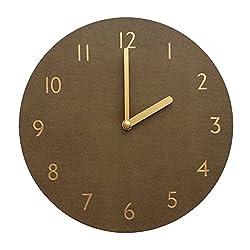 Decorative Wall Clock Silent & Non-Ticking Quartz Clock PU Leather Lightweight 0.4lb Round 9 (Brown)
