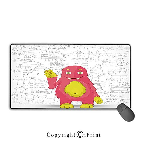 Mouse pad with Lock,Kids Decor,Funny Smart Monster Doing Math on Wall Science Nerds Comic Illustration Decorative,Pink Yellow White,Premium Textured Fabric, Non-Slip Rubber Base,9.8
