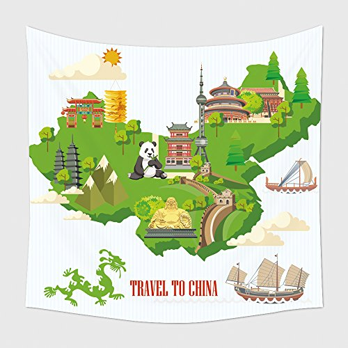 [Home Decor Tapestry Wall Hanging China Travel Vector Illustration Chinese Set With Architecture Food Costumes Traditional 461294971 for Bedroom Living Room Dorm] (Wolf Goddess Costume)