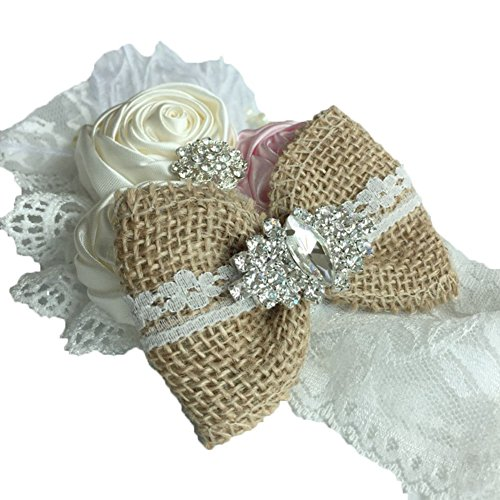 DANMY Luxury Rhinestone Lace Headband Girls Rose Flowers Net Yarn Hair Band Baby Big Bow Hair Accessories