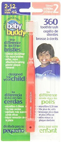 Amazon.com : Baby Buddy 360 Toothbrush Step 2 Stage 6 for Ages 2-12 Years, Kids Love Them, Red, 3 Count by Baby Buddy : Baby