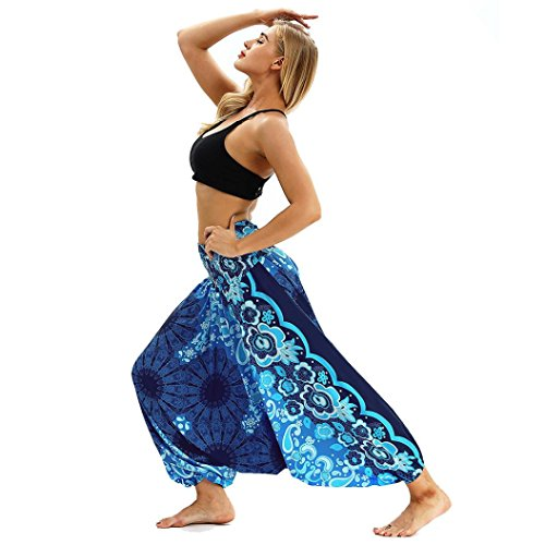 Knitting Pattern Cropped Cardigan - JOFOW Women's Pants,Floral Print Boho Latin India Oriental Loose Pleated Elastic Mid Waist Cargo Flared Trousers for Women (Free Size,Blue)
