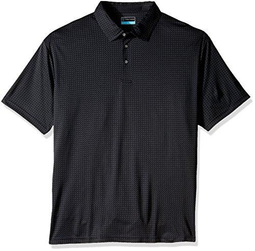 Mini Striped Polo Shirt - PGA TOUR Men's Big and Tall Short Sleeve Jacquard Polo Shirt, Mini Geo Caviar 2X