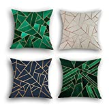 Cheap Multiart Set of 4, Decorative Throw Pillow Covers for Couch, Sofa, Bed, Modern Geometric Square Pillow Case Covers, Cushion Cover Home Decorative 18 x 18inch, Linen/Cotton, Blue/Green/Emerald/Beige