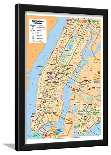 Michelin Official Manhattan Subways Map Art Print Poster Framed Lamina, ()